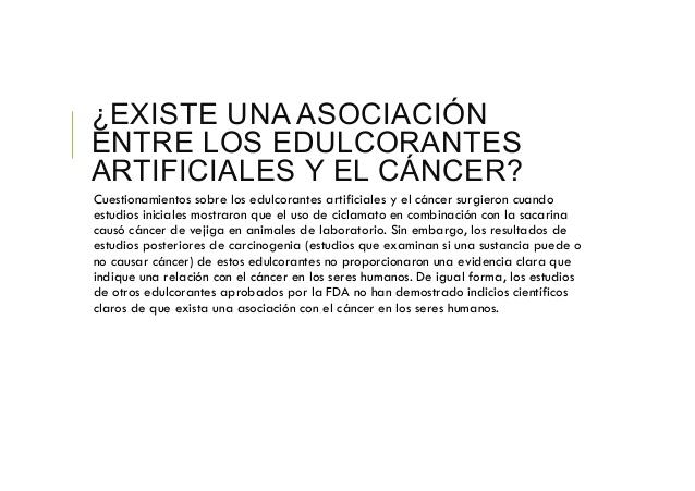 Asociación entre edulcorantes y cáncer